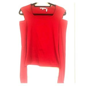 Helmut Lang Tops - Helmut Lang Red Cut Out Long Sleeve top